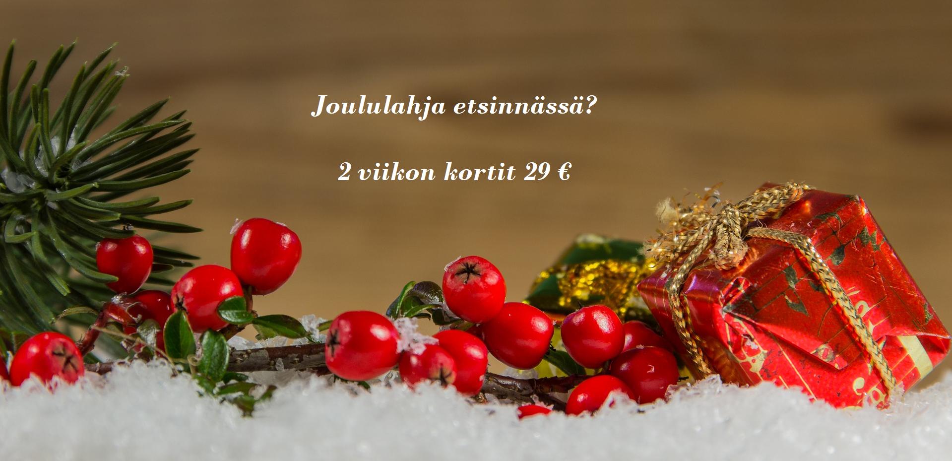 Joululahjaksi treeniä? 2 viikon kortit 29 €!*